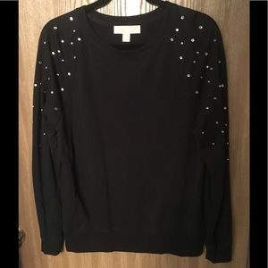 Michael Kors black rhinestone studded sweater